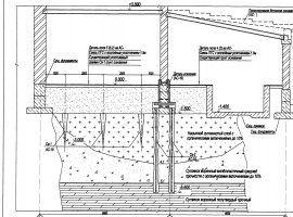 Схема усиления фундаментов путем пересадки на сваи